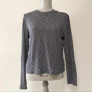 Madewell striped mock neck ribbed top